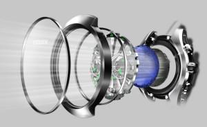 Citizen Eco-Drive (en bleu la cellule photovoltaïque, en noir le mécanisme)
