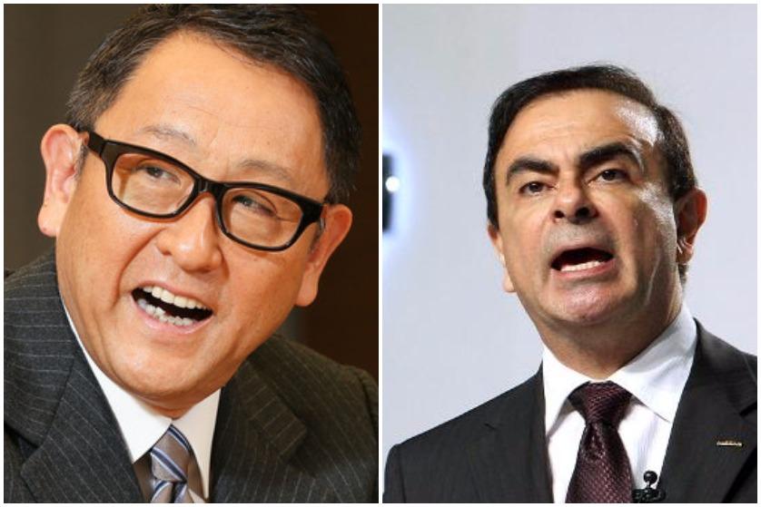 Akio Toyoda (gauche) et Carlos Ghosn (droite) incarnent des philosophies très différente en matière de stratégie d'entreprise