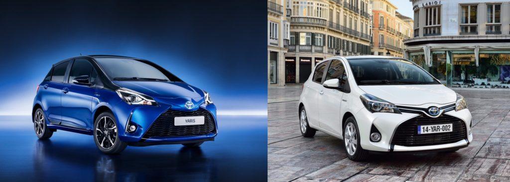 Comparatif de design entre Toyota Yaris hybride 2017 et 2015